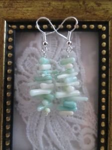Handmade Pale Blue Coral Chip Stack Silver Tone Earrings, Free Shipping!