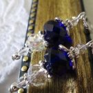 Handmade Dark Blue Faceted Crystal Silver Tone Lever Back Earrings