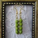 Opaque Green Czech Fire Polish Bead Gold Tone Earrings, Free U.S. Shipping!