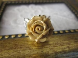 Handmade Resin Rose / Dahlia Flower Ring, Filigree, Gold/Bronze Tone, One Size