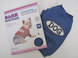 "NWT Bark Boutique Small Dog Sweat Shirt, Blue, ""DOG"" Aapplique Patch, Free Ship"