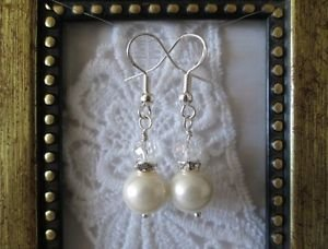Handmade White Glass Pearl and Crystal Silver Tone Earrings, Free Ship!