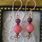 New! Handmade Sugar Pink and Purple Gemstone Copper Earrings, Handmade Wires