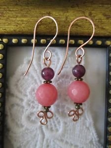 New! Handmade Sugar Pink and Purple Gemstone Copper Earrings, Handmade Wires