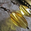 Handmade Honey Twisty Glass Earrings, Free U.S. Ship!