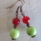 Handmade Howlite Turquoise Earring, Green Apple, Blue, Single, Ruby, Hoop