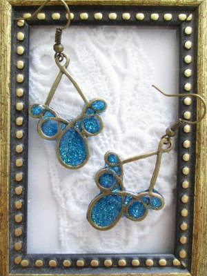 Handmade Blue Glittered Bronze Tone Earrings, Free U.S. Shipping!