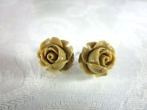 Handmade Realistic Rose Flower Silver Tone Post Earrings, Free US Shipping!