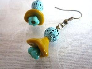 Handmade Czech Glass Flower and Charm Earrings, Blue Patinated, Filigree Charms