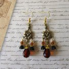 Brown Czech Drop & Black Glass Flower Art Nouveau Style Chandelier Earrings