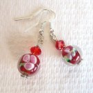 Red / Pink Flower Lampwork Glass and Faceted Crystal Silver Tone Earrings