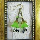 Handmade Green Lily Flower &  Peridot Czech Glass Antique Bronze Tone Earrings.