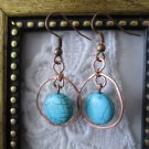 Handmade Puffy Round Blue Howlite Turquoise & Hand Hammered Copper Earrings