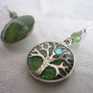 Handmade Round Tree of Life Charm in Starry Night Silver Tone Earrings.