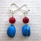New! Handmade Tumbled Rock Blue Turquoise and Red Coral Silver Tone Earrings