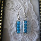 Handmade Frosted Blue Bubble Glass & Hand Hammered Frame Silver Tone Earrings