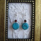 Handmade Flat Round Blue Howlite Turquoise and Red Czech Silver Tone Earrings