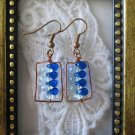 Handmade Czech Blue Drop Glass Beads & Hand Hammered Frame Copper Earrings
