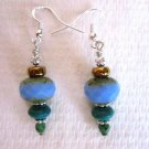 New! Light Blue Czech Picasso & Turquoise Roundelle Silver Tone Earrings