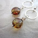 Handmade Amber Brown Czech Glass and Silver Ring Earrings, Free U.S. Shipping