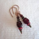 Handmade Dark Red Fire Polished Glass & Copper Wire Wrapped Earrings, Free Ship!