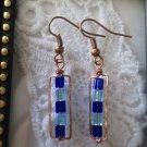 Handmade Blue Cubic Glass Beads & Hand Hammered Frame Copper Earrings