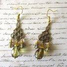 Light Amber Czech Glass Drop Art Nouveau Style Antique Gold Chandelier Earrings
