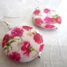 Handmade Red Cosmos Flower Print Round White Shell Silver Tone Earrings