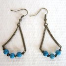 Handmade 3 Blue Round Turquoise on Chain Antique Brone Tone Swinging Earrings