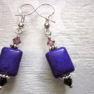 New! Handmade Purple Rectangle Stone & Faceted Crystal Silver Tone Earrings