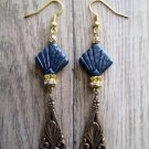 Ash Black Art Deco Glass Beads and Bronze Floral Drop Charm Gold Tone Earrings