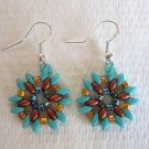 Handmade Turquoise Blue and Copper Czech Bead Star Burst Silver Tone Earrings