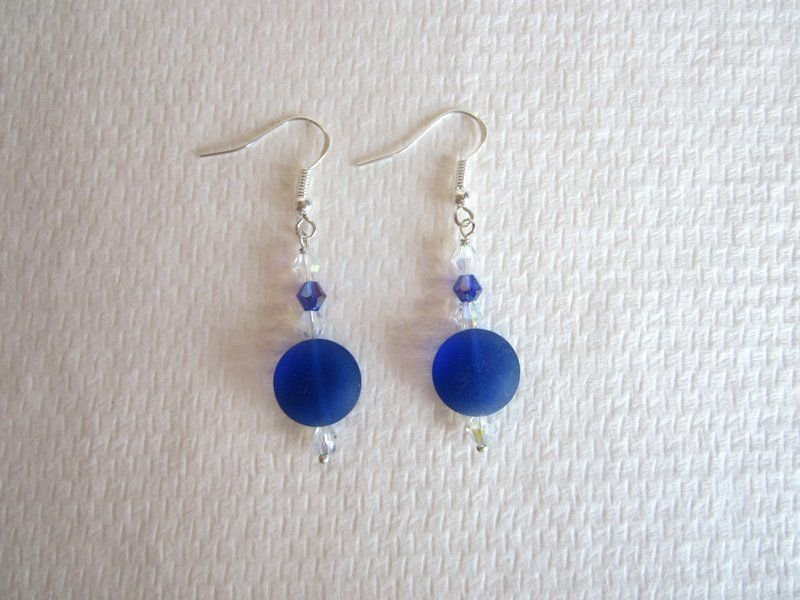 Puffy Round Cobalt Blue Cultured Frosted Beach Glass / Sea Glass Earrings