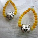 New! Cheeky Silver Kitty Cat and Yellow Shell Bubble Bead Hoop Earrings