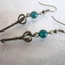Crown Key and Green Czech Druk Glass Antiue Bronze Tone Earrings  Steampunk