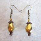 Handmade Golden Plated Faceted Glass Drop Antique Bronze Tone Earrings
