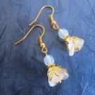 Handmade Frosted White Czech Glass Flower and Opal Gold Tone Earrings