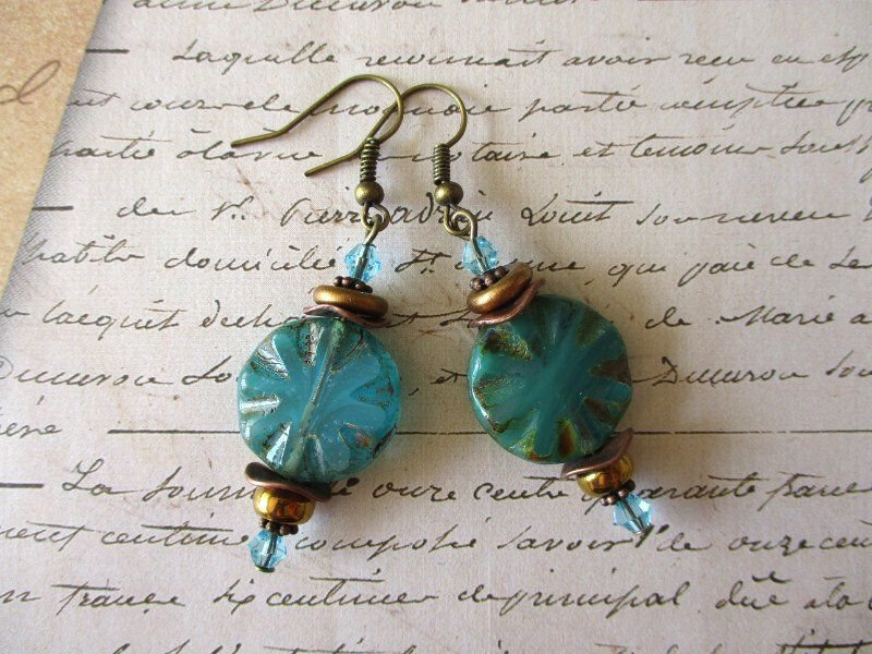 Light Blue Czech Carved Coin Glass Bead and Crystal Coppe/Bronze Tone Earrings.