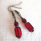 Red Rectangle Czech Picasso Glass and Fire Polished Glass Bronze Tone Earrings