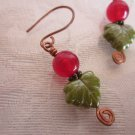 Handmade Round Red Ruby, Glass Green Leaf & Hand Formed Copper Wire Earrings