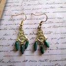 Dark Turquoise Blue Czech Glass Drop Dagger Gold Tone Chandelier Earrings.