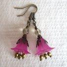 Handmade Deep Pink Bell Flower & Gold Crystal Antique Bronze Tone Earrings.
