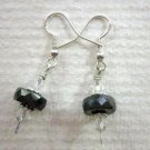 Handmade Silvery Black Czech Glass Disc and Faceted Crystal Silver Tone Earrings