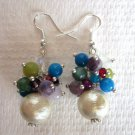 Beige White Cotton Pearl & Multi-Color Gemstone .925 Sterling Silver Earrings