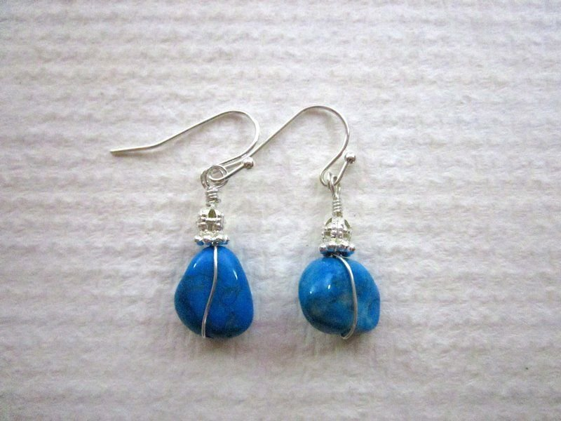 New! Handmade Silver Wire Wrapped Tumbled Rock Blue Turquoise Earrings
