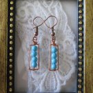 Handmade Bubbly Blue Howlite Turquoise & Hand Hammered Frame Copper Earrings
