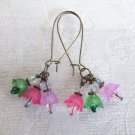 Pink Purple and Green Tulip and Crystal Bouquet Bronze Tone Kidney Hoop Earrings