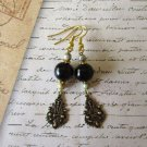 Black / Dark Brown Round Onix Gemstone Bead Vintage Style Gold Tone Earrings.