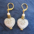 White Victorian Heart Flower Etched Czech Glass Gold Tone Lever Back Earrings