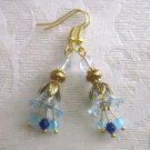 Handmade Light Blue Bell Flower and Czech Glass Antique Glass Gold Tone Earring.